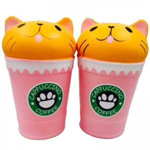 Jumbo Squishy Slow Rising Stress Relief Toy Cartoon Cat Head Coffee Cup -