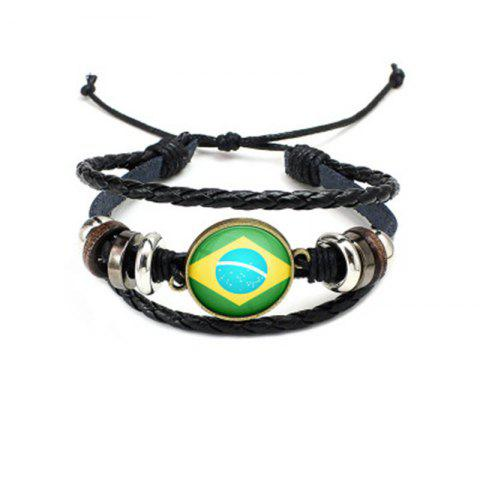 Outfit Manual Weaving Flag Punk Leather Bracelet