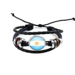 Manual Weaving Flag Punk Leather Bracelet -