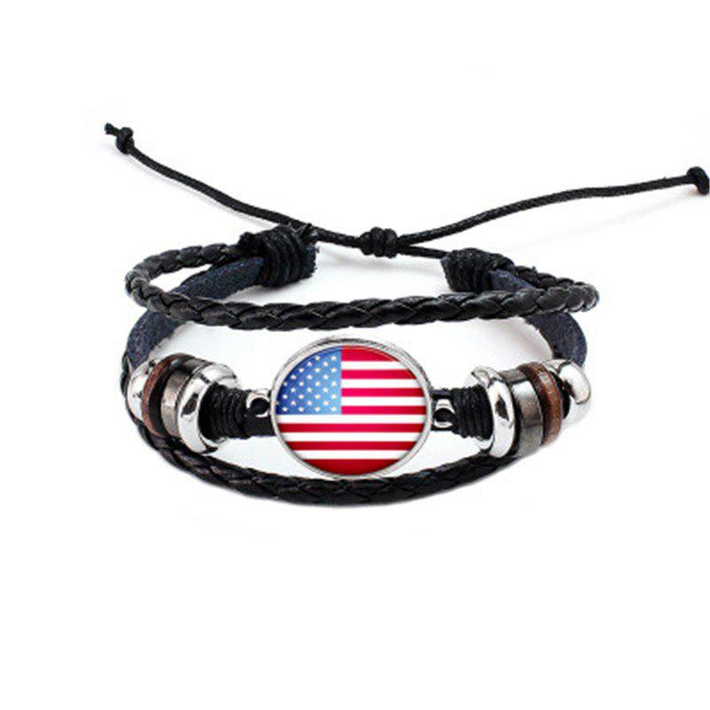 Sale Manual Weaving Flag Punk Leather Bracelet