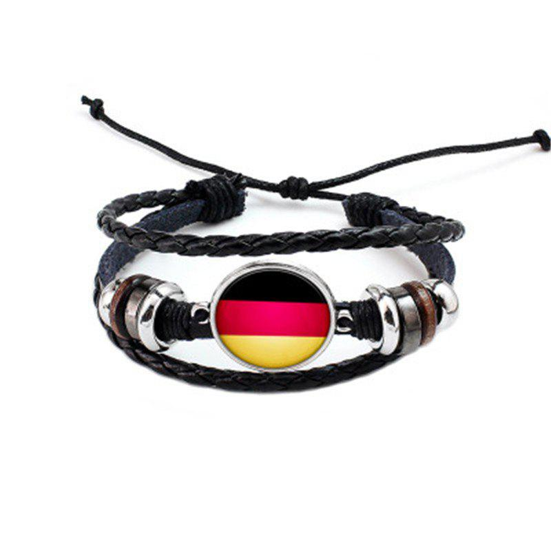 Unique Manual Weaving Flag Punk Leather Bracelet