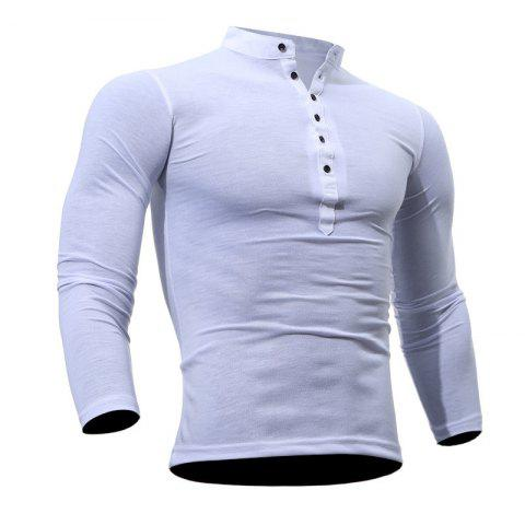 Casual Tight stand Collar Solid Color Long sleeved T shirt