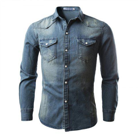 Discount Double Pocket Men's Casual Long Sleeve Denim Shirt