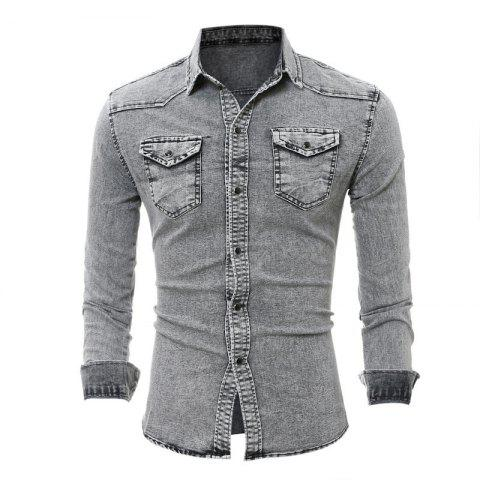 Fashion Double Pocket Men's Casual Long Sleeve Denim Shirt