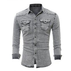 Double Pocket Men's Casual Long Sleeve Denim Shirt -