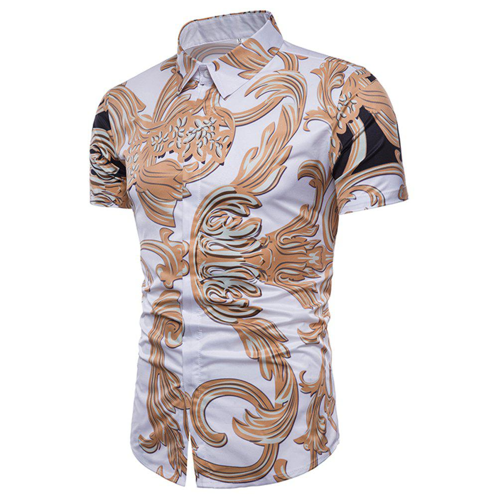 Unique The New Men's Fashion Fad, The Gold 3D Print Shirt