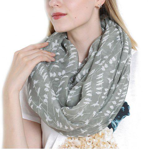 Discount Fashion Women's Willow Birds Print Long Shawl Infinity Loop Cowl Scarf