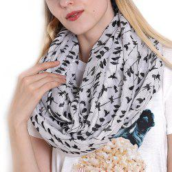 Fashion Women's Willow Birds Print Long Shawl Infinity Loop Cowl Scarf -