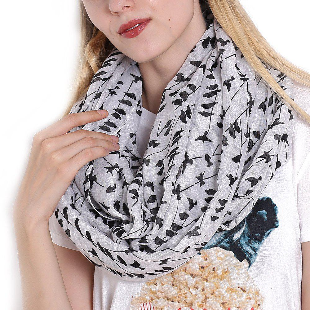 Outfit Fashion Women's Willow Birds Print Long Shawl Infinity Loop Cowl Scarf
