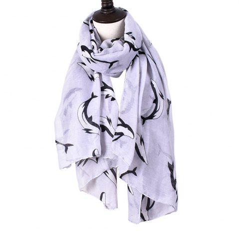 Discount Animal Whales Print Shawl Women's Cotton Scarves For Ladies