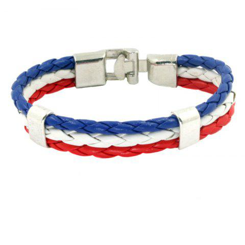 Affordable Flag Pu Hand Woven Leather Cord Bracelet