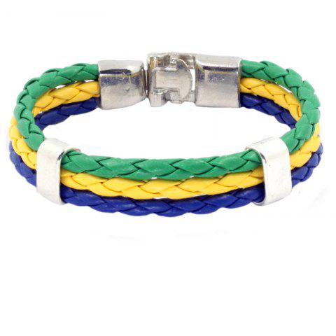 Discount Flag Pu Hand Woven Leather Cord Bracelet