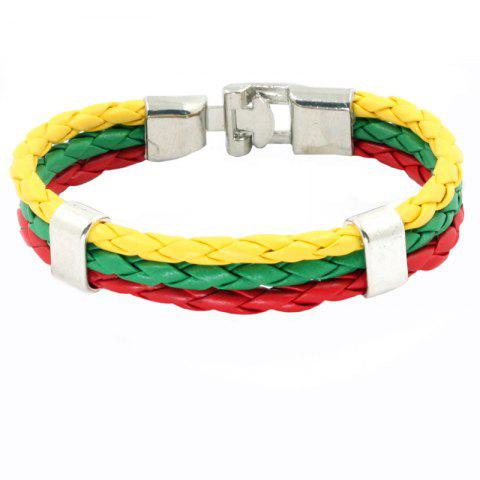 Hot Flag Pu Hand Woven Leather Cord Bracelet