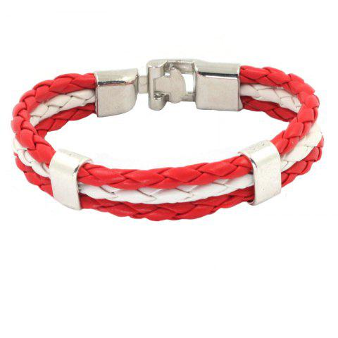 Cheap Flag Pu Hand Woven Leather Cord Bracelet