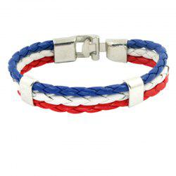 Flag Pu Hand Woven Leather Cord Bracelet -