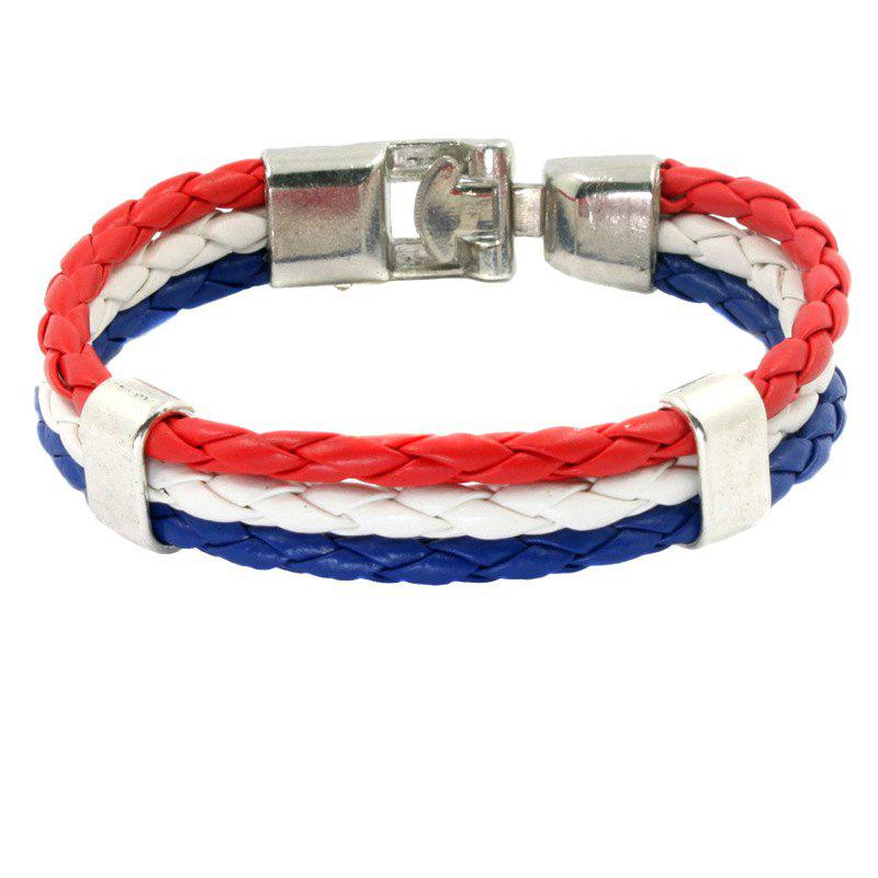 Online Flag Pu Hand Woven Leather Cord Bracelet