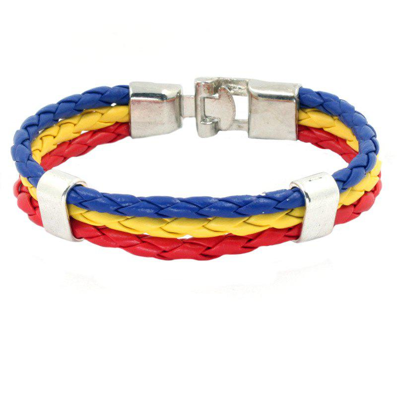 Sale Flag Pu Hand Woven Leather Cord Bracelet