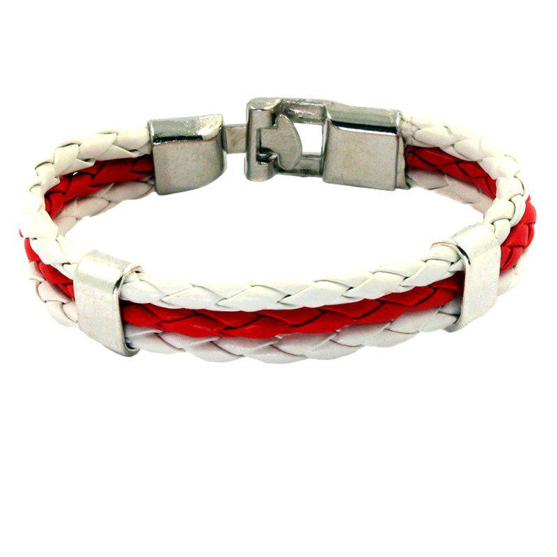 Trendy Flag Pu Hand Woven Leather Cord Bracelet