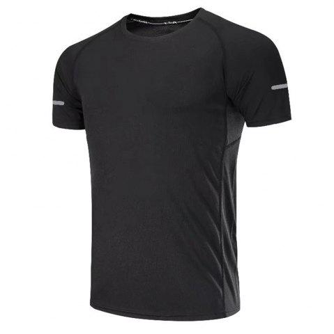 Online Quick Dry Men Sleeve Round Collar Large Code Loose Fitness Sport T-Shirt