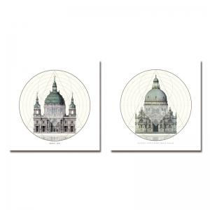 41XDZS - 1-2 2PCS European Architecture Castle Print Art -