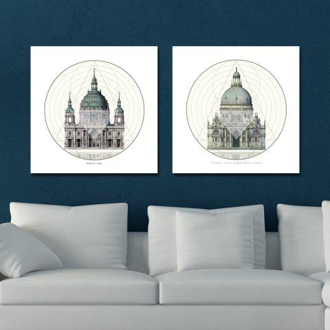 Hot 41XDZS - 1-2 2PCS European Architecture Castle Print Art