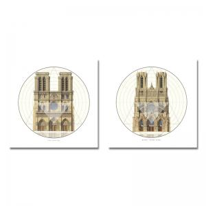 41XDZS - 9-10 2PCS European Architecture Castle Print Art -
