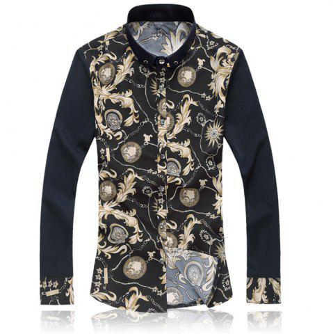 Cheap 2018 New Large Size Trend Buckle Men's Casual Long-sleeved Floral Shirt