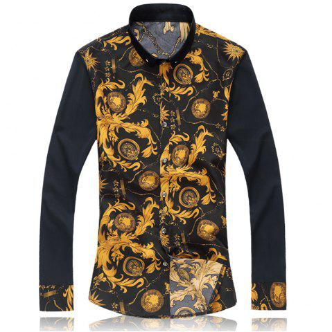 Store 2018 New Large Size Trend Buckle Men's Casual Long-sleeved Floral Shirt