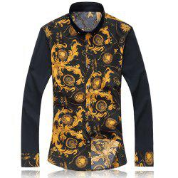 2018 New Large Size Trend Buckle Men's Casual Long-sleeved Floral Shirt -