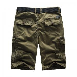Men Shorts Casual Cozy Solid Color Cropped Cargo Pants Without Belt -