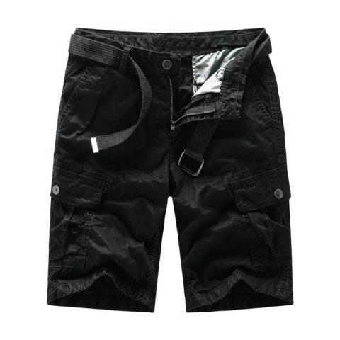 Discount Men Shorts Casual Cozy Solid Color Cropped Cargo Pants Without Belt
