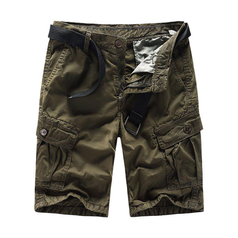 Trendy Men Shorts Casual Cozy Solid Color Cropped Cargo Pants Without Belt