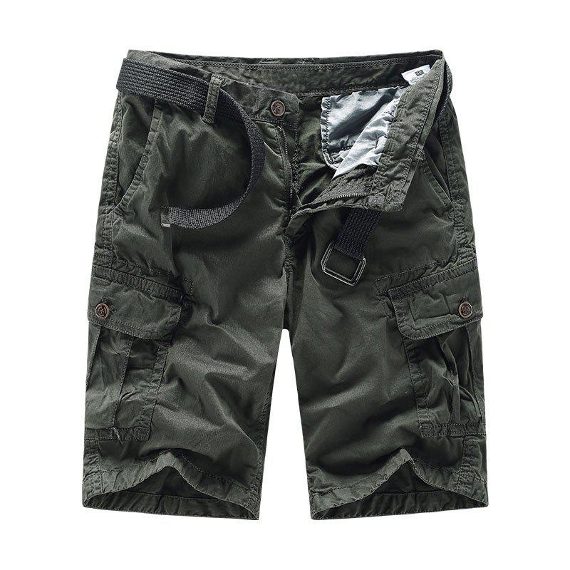Best Men Shorts Casual Cozy Solid Color Cropped Cargo Pants Without Belt