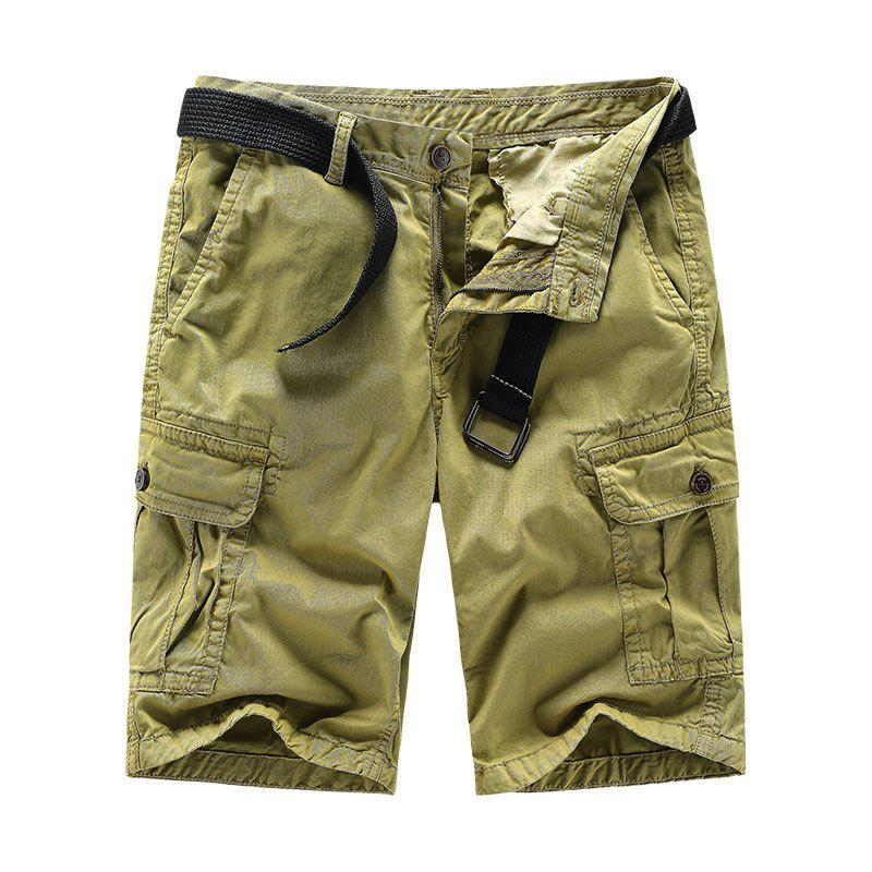 Online Men Shorts Casual Cozy Solid Color Cropped Cargo Pants Without Belt