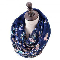 Spring and Autumn Women's Fashion Butterfly Print Infinity Scarf -