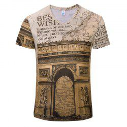 T-shirt col en V New Fashion Gate 3D Print pour homme -