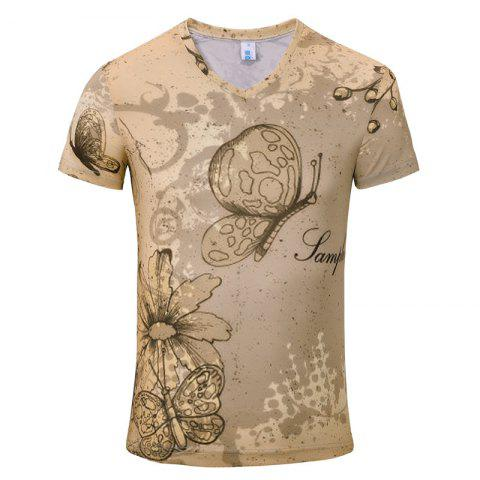 Outfit Summer New Fashion Iris 3D Print Men's V-Collar T-shirt
