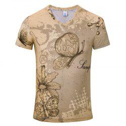 Summer New Fashion Iris 3D Print Men's V-Collar T-shirt -