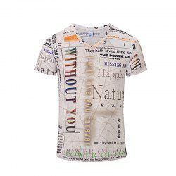 3D Letter Fashion Casual New Printing Men's V-Collar T-shirt -