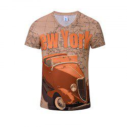 T-shirt à col en V de la mode 3D New Red Car Print hommes -