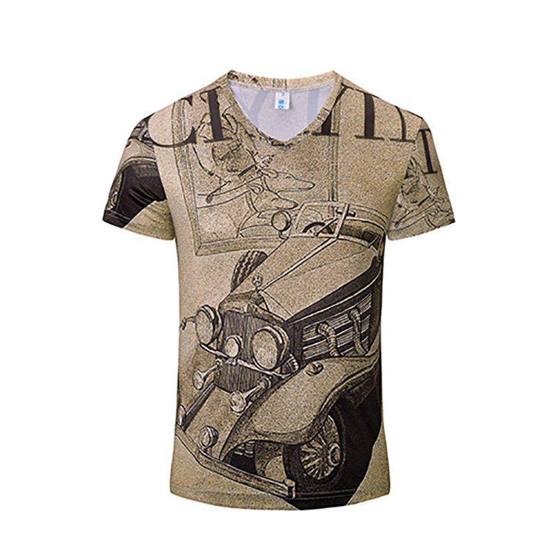 Unique Casual New Fashion Car 3DY Print Men's V-Collar Short Sleeve T-shirt