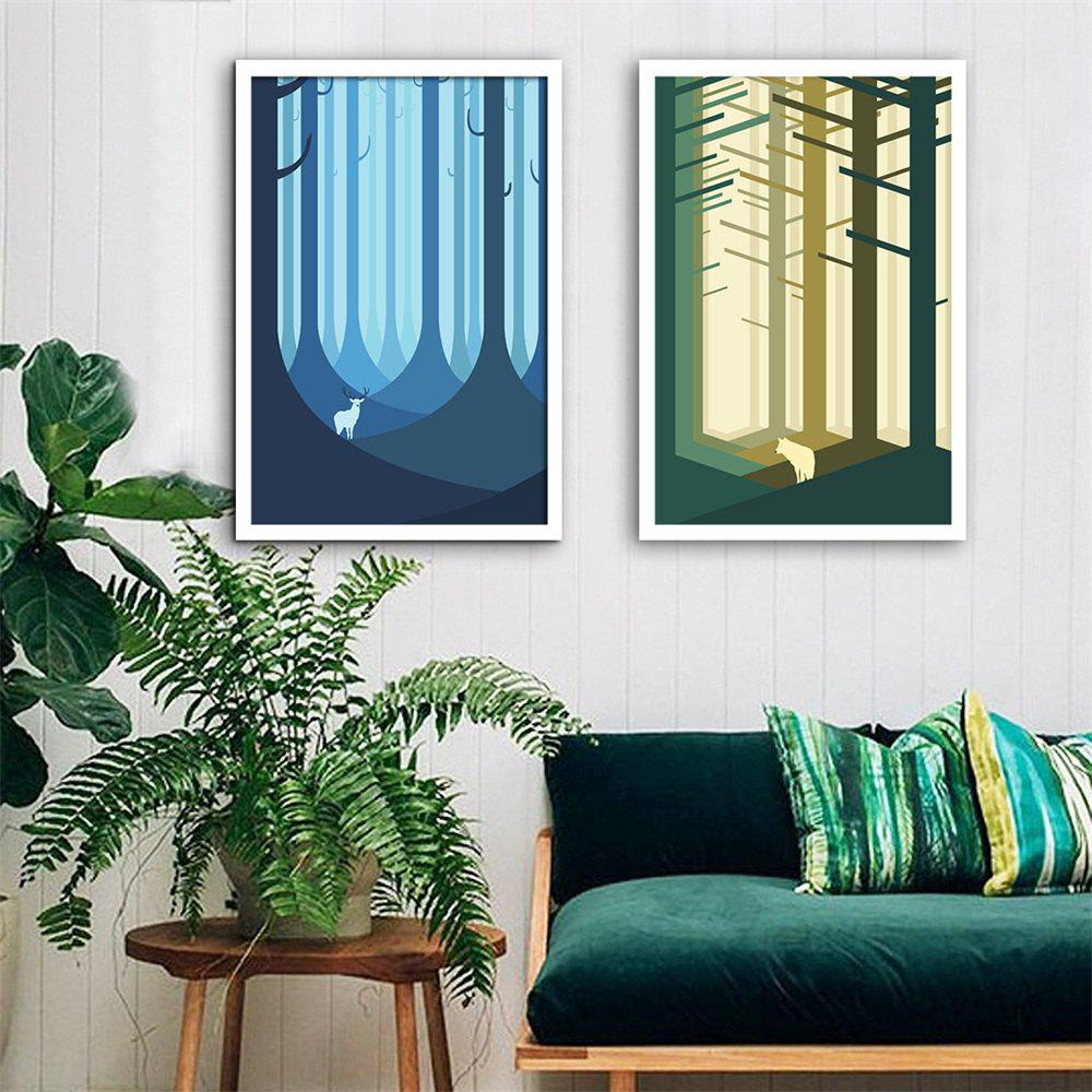 Online Special Design Framed Paintings Jungle Print 2PCS