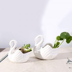 WX-B6A White Swan Ceramic Decoration Flower Pot Candlestick -
