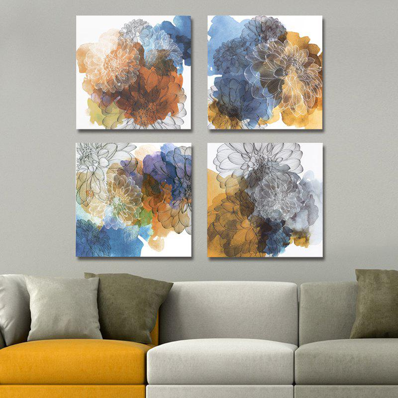 Sale 41XDZS - 410-411-412-413 4PCS Fashionable Abstract Flowers Print Art