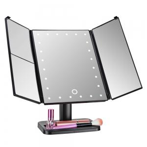 Trifold Makeup Mirror Clear Compact Vintage Mirrors with 24 LED Beads 1X/2X/3X -