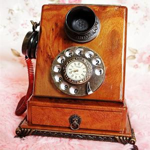 Retro Clock Model Home Furnishing Telephone with Ornaments -