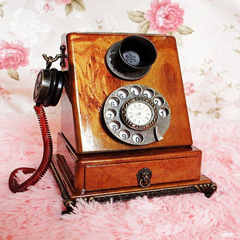 New Retro Clock Model Home Furnishing Telephone with Ornaments