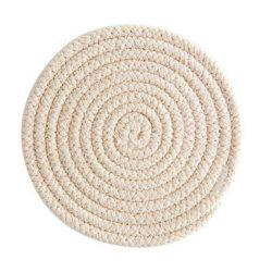 Round Weave Placemat Soft Cotton Thread Thicker Cloth Dining Table Mat -