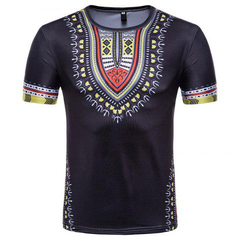 Hot Men's Summer Indian Totem Print Round Neck T-Shirt