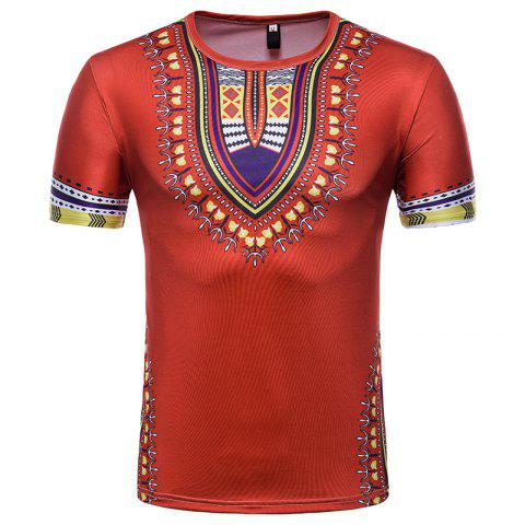 Trendy Men's Summer Indian Totem Print Round Neck T-Shirt